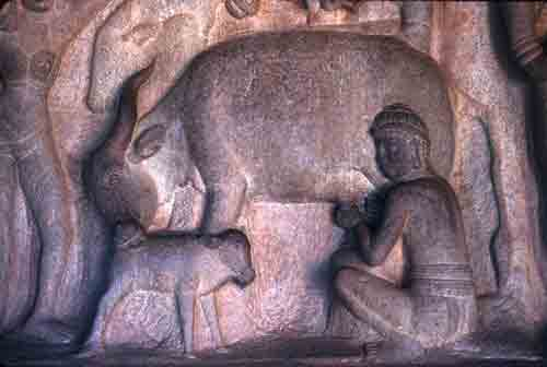 Ancient Carving in Temple Cave, Tamil Nadu