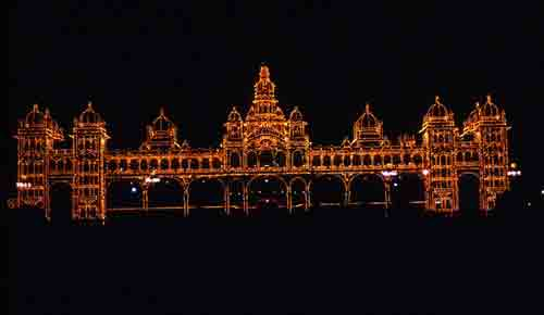 Maharajah of Mysore's Palace at Night