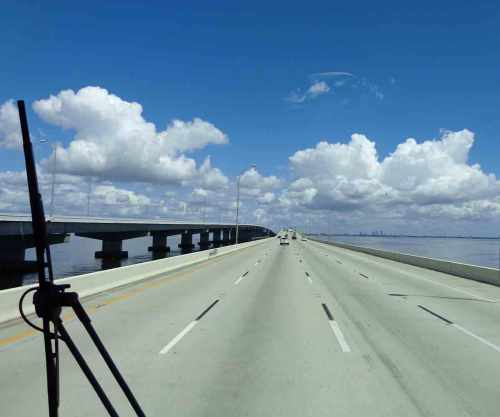 Heading toward Tampa on the Gandy Bridge